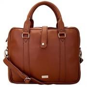 Yelloe briefcase look slim laptop bag in tan