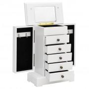 vidaXL Skrinka na šperky so zrkadlom, MDF, 25 x 13,5 x 34 cm