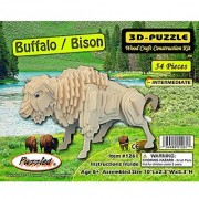 Puzzled Buffalo/Bison 3D Natural Wood Puzzle (54 Piece)