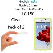 Digimate Nano Clear 0.2 mm Screen Guard Protector Flexible Glass for LG L50 (Pack of 2)