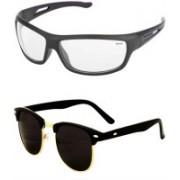 Barbarik Wrap-around, Clubmaster Sunglasses(Black, Clear)