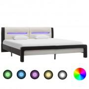vidaXL fekete és fehér LED-es műbőr ágykeret 180 x 200 cm