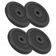 vidaXL Discos de musculação 4 pcs 30 kg ferro fundido