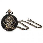 Bling Jewelry El Caribe Pirata Calavera Huesos Cruzados Esfera Blanca Reloj Bolsillo Hombre Negro Chapadoaleación Bronce Con Cadena