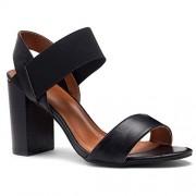 Shoe Land SL-Mullyra Sandalias de tacón Ancho y apilado para Mujer, con Tiras y Puntera Abierta, cómodas Sandalias para Caminar, Negro/Negro, 8.5 US