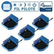Lot de 5 modules Fil Pilote encastrable Z-Wave Plus - QUBINO
