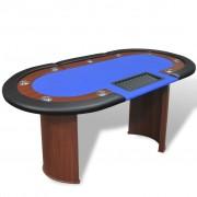 vidaXL 10 személyes, kék pókerasztal osztó résszel és zsetontálcával