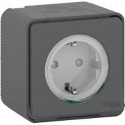 Mureva Styl IP55 vízmentes földelt csatlakozóaljzat (dugalj) gyermekvédelemmel, csapófedéllel, 2P+F, antracitszürke színben, komplett szerelvény, falon kívül, vízmentes (IP55) 16A 250V (Schneider Electric MUR36731)