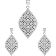 92.5 Sterling Silver Cubic Zirconia Studded Striped Leaf Pendant Earrings Set for Women and Girls