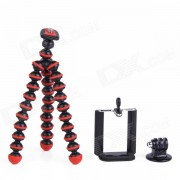Tripode Mini Octopus 3-en-1 para Camara Digital / Telefono / GoPro Hero 1/2/3 / 3+ - Negro + Rojo