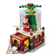 Generic White Christmas Xmas Scene Gift Santa Claus Tree Bell House Display Box MOC Building Bricks Block Model Set Toys for Children A