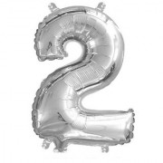 Stylewell Solid Silver Color Single Number Two (2) 3d Foil Balloon for Birthday Celebration Anniversary Parties