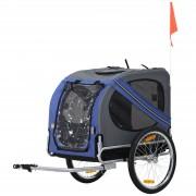 PawHut Rimorchio per Bicicletta per Animali Domestici Ruota 50 cm Impermeabile Grigio Blu