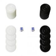 Пулове за табла - пластмасови 2.7 см. комплект 30 бр. с 2 зара