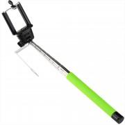 Selfie stick verde cu cablu si buton, suport pentru telefon si maner ridat