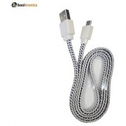 Basitronics Flat Fiber Micro USB Charging and Data cable 3 Feet 0.9 Meters White