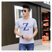 E-Thinker Playeras Manga Corta para Hombre Letra Z impresión Camiseta - Gris