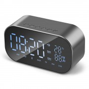 S2 Digital Alarm Clock Radio Wireless Bluetooth Speaker with Dual Alarm & 3.5mm Audio Input - Silver
