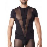 Lookme Wave Fishnet V Stripes Zipper Neck Short Sleeved T Shirt Black 805-81