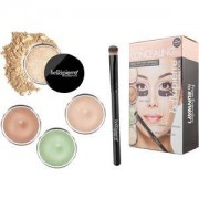 Bellápierre Cosmetics Make-up Sets Extreme Concealing Kit Dark Circle Illuminator 8,5 g + Green Camouflage Cream 8,5 g + Contour Cream 8,5 g + Banana Setting Powder 2 g + Concealer Brush 1 Stk.