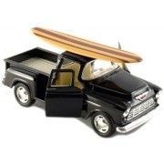 "12 pcs in Box: 5"" 1955 Chevy Stepside Pickup with Surfboard 1:32 Scale (Black/Blue/Red/Yellow)"