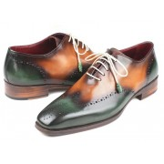 Paul Parkman Wingtip Oxford Shoes Green & Camel 097GV22