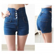 Cintura Alta Pantalones Cortos Shorts Vaquero Talle Alto Shorts De Mezclilla Para Mujer -Azul