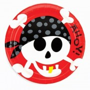 Pirate Party Plates - 8 Pirate-themed disposable plates for children parties. 22cm diameter. Made from paper. Matching partyware available.