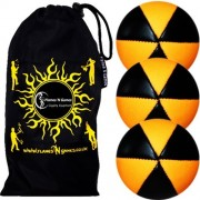 Flames 'N Games 3X N Astrix Uv Thud Juggling Balls Set of 3 (Black/Uv Orange) Pro 6 Panel Leather Ball & Travel Bag!