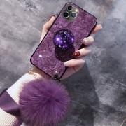 Exkluzív iPhone tok, puha bojttal - Lila, 11 Pro