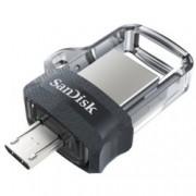 16GB USB Flash Drive, SanDisk Ultra Dual Drive m3.0, USB 3.0/micro USB 3.0, сива