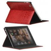 Folio Leren Tas - iPad 2, iPad 3, iPad 4 - Crocodile Rood