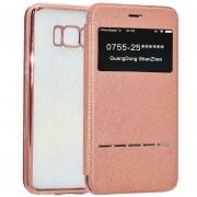 Para Samsung Galaxy S8 Cruz Galvanoplastia Protectora Caso TPU Suave Textura Con Pulsar La Tecla (oro Rosa)