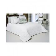 Colcha edredón en algodón natural punto crochet color blanco con cojines decorativos 50x60 cm