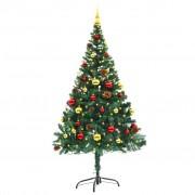Sonata Изкуствена елха, украсена с играчки и LED лампи, 150 см, зелена