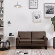 vidaXL 2-местен диван, кафяв, текстил