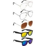 NuVew Aviator, Wayfarer Sunglasses(Blue, Brown, Golden, Clear, Golden, Green)