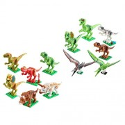 Segolike 12 Sets Plastic Dinosaur Action Figures Minifigures Assembly Building Blocks Bricks Kids Assembled Toys Xmas Gifts