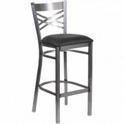 Flash Furniture Metal Stool with X-Back/Padded Seat - Clear Coated Frame/Black Seat, 500-lb. Capacity, 17Inch W x 18Inch D x 42 1/4Inch H, Model
