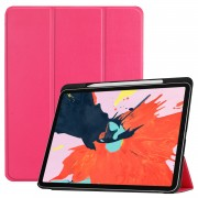 For iPad Pro 12.9-inch (2018) PU Leather Tri-fold Stand Tablet Protection Case [with Pen Slot] - Rose
