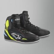Alpinestars Chaussures Moto Alpinestars Faster-3 Noir-Jaune Fluo-Bleu Clair 48