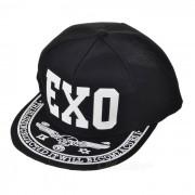 """Unisex """"EXO"""" patron de beisbol Flat Cap pico sombrero - negro + blanco"""