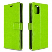 Voor Galaxy A81 Crazy Horse Texture Horizontal Flip Leather Case met Holder & Card Slots & Wallet & Photo Frame(greed)