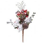 Geen Kerststukje stekertje met bessen en sneeuw 20 cm