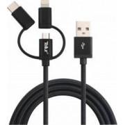 Cablu de date Tellur 3 in 1 USB - Micro USB + adaptor MFi Lightning + adaptor Type-C 1m Negru