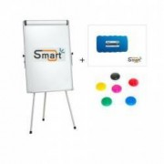 Flipchart whiteboard magnetic 100x70 cm SMART + burete si 3 magneti inaltime reglabila