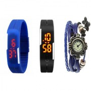 fast selling Women Black And Blue Robotic Led Watches For Men Women + Blue Vintage Watch For Women