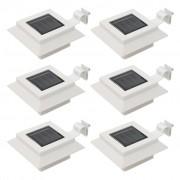 vidaXL Градински соларни лампи, 6 бр, LED, квадратни, 12 см, бели