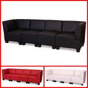 Modular 4-Sitzer Sofa Couch Lyon, Kunstleder, hohe Armlehnen ~ Variantenangebot