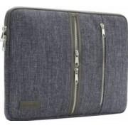 Geanta DOMISO pentru laptop macbook 14 inch compartimentata cu 3 buzunare exterioare cu fermoar gri